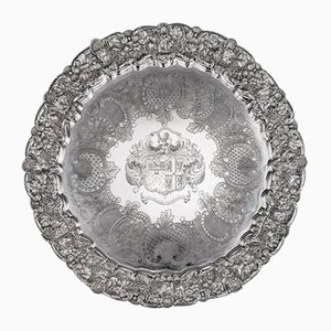 19th Century Georgian English Solid Silver Salver Tray from John Edward Terrey