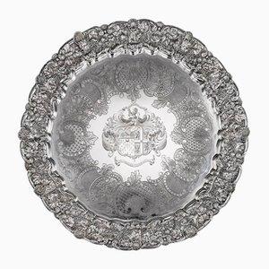 Georgisches englisches Tablett aus solidem Silber von John Edward Terrey, 19. Jh