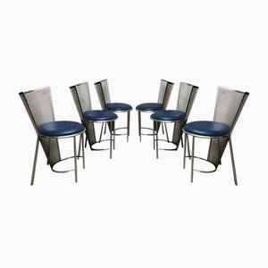 Vintage Dining Chairs by Frans Van Praet for Belgo Chrome / Dewulf Selection, 1992, Set of 6