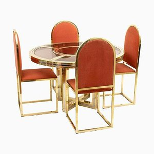 Italian Golden Brass Dining Table & Chairs Set from Romeo Rega, 1970s, Set of 5