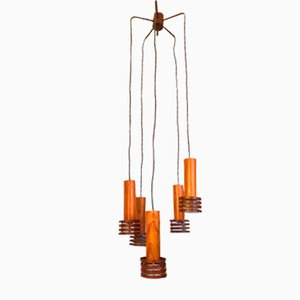 Vintage Wood and Metal Cascade Ceiling Lamp, 1970s