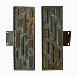 Elongated Bronze Geometric Push and Pull Door Handle, 1960s, Set of 2