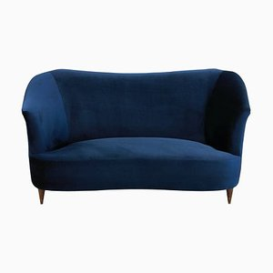 Italian Cherrywood and Blue Velvet Sofa from ISA, 1950s