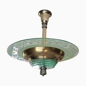 Art Deco French Ceiling Lamp from Atelier Petitot, 1930s