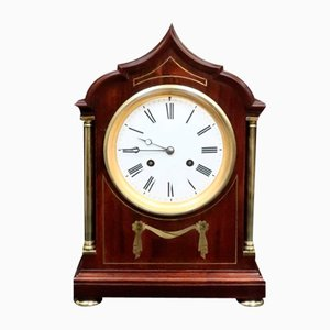Antique French Belle Epoque Mahogany Mantel Clock from Samuel Marti, 1900s