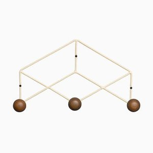 Epure Trio Cream & Teak Coat Rack by AC/AL Studio