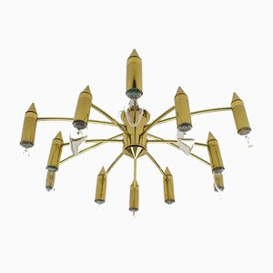 Golden 12-Arm Sputnik Ceiling Lamp, 1970s
