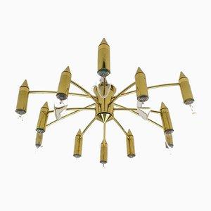 Goldene 12-armige Sputnik Deckenlampe, 1970er