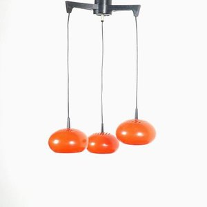 Vintage Space Age Orange Metal Cascade Ceiling Lamp, 1960s