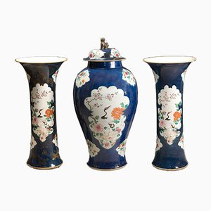Antique Trumpet Vases and Lidded Jar Set, Set of 3