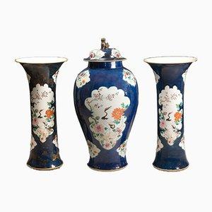 Vasi Trumpet antichi con coperchio, set di 3