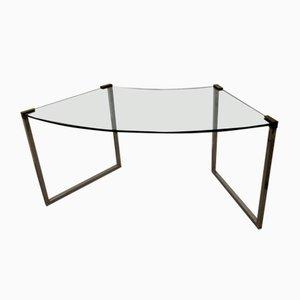 Halbrunder Glas Modell T53 Schreibtisch von Peter Ghyczy, 1980er