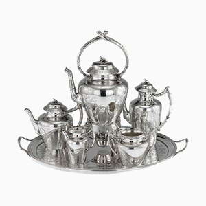19th Century Victorian English Solid Silver Tea Set from Joseph, Albert, Horace & Ethelbert Savory, 1880s, Set of 6