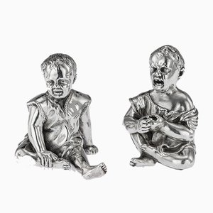 19th Century Victorian English Solid Silver Figurative Salt and Pepper Shaker Set from Thomas Johnson II, 1880s, Set of 2