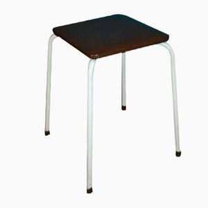 Mid-Century White and Brown Metal Stool, 1960s