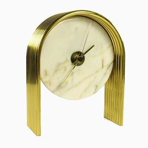 Vintage Marble and Brass Table Clock by Antun Vikić for Junghans