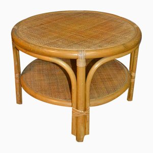Vintage Bamboo and Rattan Wicker Side Table, 1970s