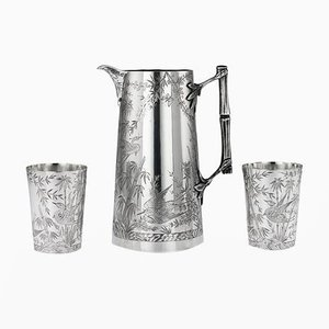 19th Century Victorian English Solid Silver Jug and Beakers Set from Holland, Son & Slater, 1880s, Set of 3