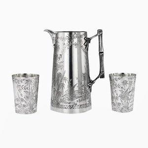 Viktorianisches englisches solider Krug und Becher aus massivem Silber von Holland, Son & Slater, 1880er, 3er Set