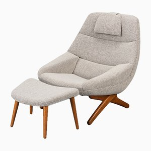 Danish Model ML-91 Lounge Chair and Ottoman Set by Illum Wikkelsø, 1960s