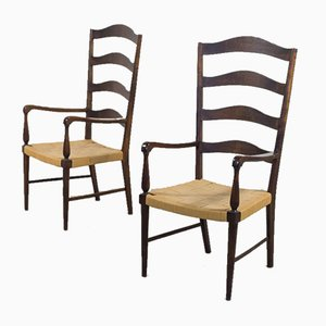 Mid-Century Danish High Back Shaker Style Armchairs, Set of 2