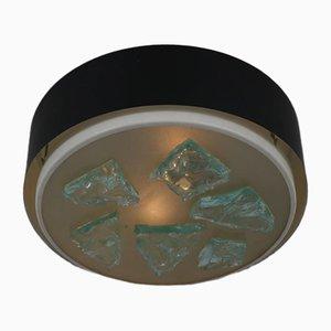 Glas Deckenlampe von Raak, 1950er