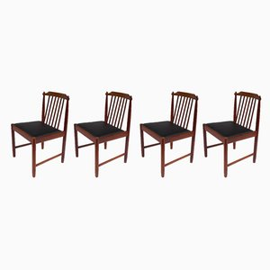 Scandinavian Rosewood Dining Chairs, 1950s, Set of 4