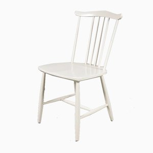 White Wooden Spokeback Chairs from Hagafors, 1960s, Set of 4