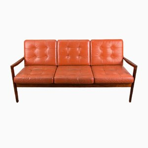 Danish Rosewood and Leather Sofa by Ole Wanscher for France & Søn / France & Daverkosen, 1960s