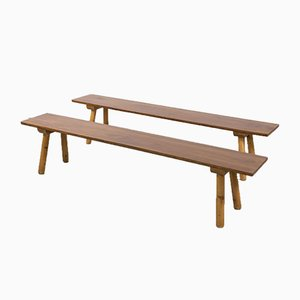 Scandinavian Modern Solid Pine Benches, 1950s, Set of 2