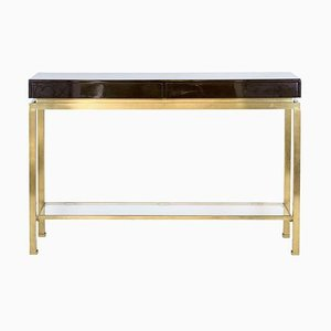 Lacquer and Brass Console Table Attributed to Guy Lefèvre for Maison Jansen, 1970s