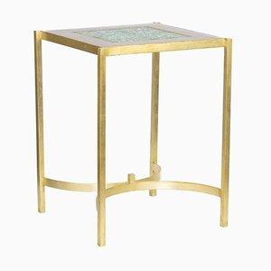 Pedestal Tisch aus Steingut und Vergoldetem Messing, 1970er