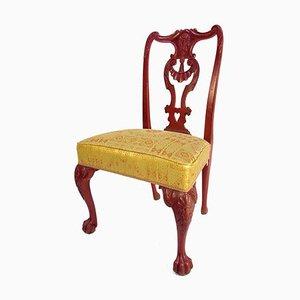 Rote lackierte Palisander Stühle im Chippendale Stil, 1880er, 2er Set