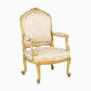 Transition Style Armlehnstühle aus vergoldetem Holz, 1880er, 2er Set