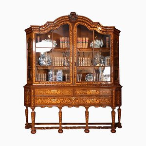 Large Dutch Cabinet with Floral Marquetry, 19th-Century