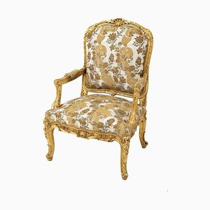 Louis XV Style à la Reine Armchair in Gilt Wood, Late 19th Century
