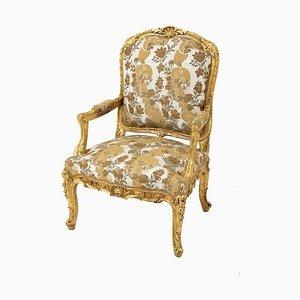 Poltrona Luigi XV Style à la Reine in legno dorato, fine XIX secolo