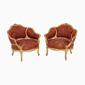 Louis XV Style Low Armchairs in Gilt Wood, 1880s, Set of 2