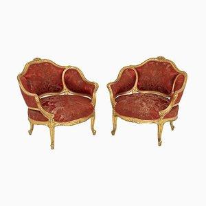 Niedrige Louis XV Armlehnstühle aus vergoldetem Holz, 1880er, 2er Set