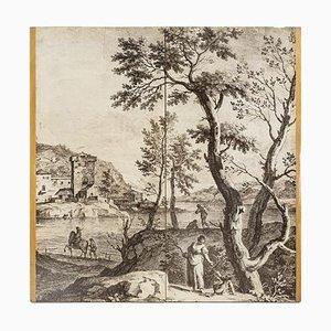 Kupferstich von Holztüren im Stile von Fornasetti, 1950er, 2er Set