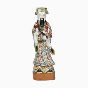 Antique Chinese Dignitary in Polychrome Earthenware, 1900s