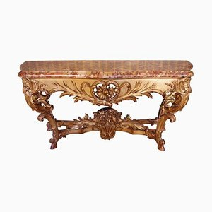 Large Giltwood Louis XV Style Console Table, 1870s