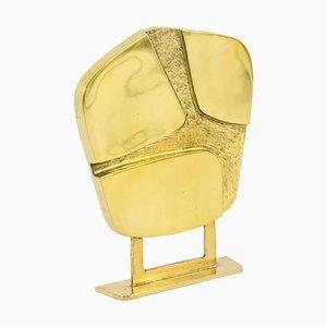 Escultura geométrica de bronce dorado, años 70
