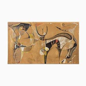 Composition Abstraite Technique Mixte sur Canevas par Bocian, 1949