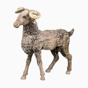 Ram in Sculpted and Painted Wood, 19th Century