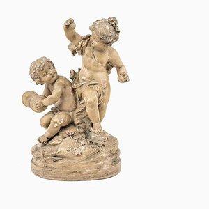 19 Century Musician Children Terracotta Sculpture by Sylvain Kinsburger