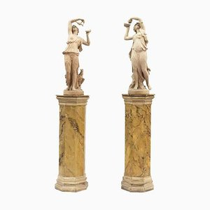 Antique Terracotta Nymph Sculptures by Mandeville-Comberan, Set of 2