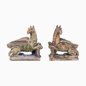 Large Terracotta Style Stone Griffin Sculptures, 1940s, Set of 2