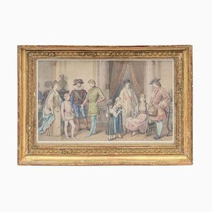 Framed Costume Ball Scene Watercolor, 1850s