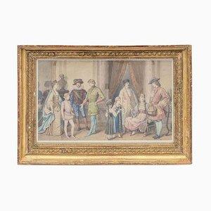 Framed Costume Ball Scene Watercolor, 1850s